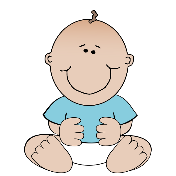 Vector image of sitting cartoon baby boy