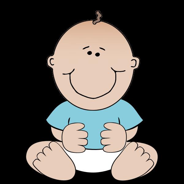 Vector image of sitting cartoon baby boy