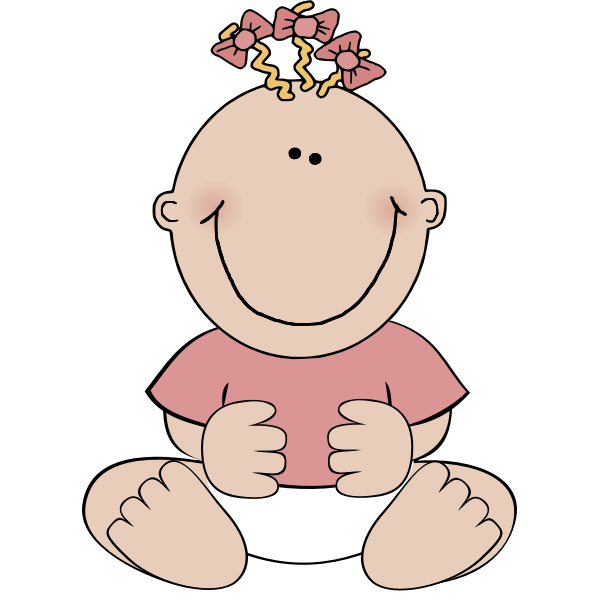 Vector image of a sitting baby girl