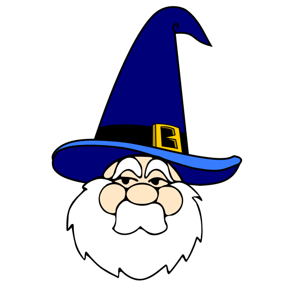 Vector drawing of wizard man with a blue hat