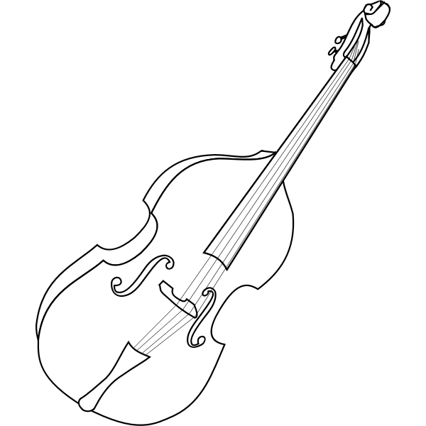 Vector line drawing of double bass instrument