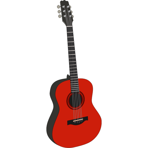 Acoustic guitar in red color