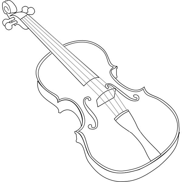 Contour vector image of violin