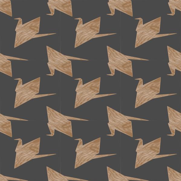 paper crane wood texture seamless pattern