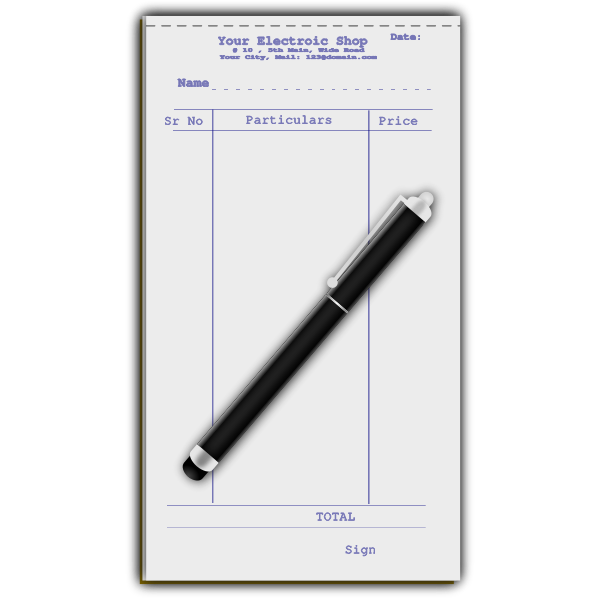 Pen with receipt vector illustration