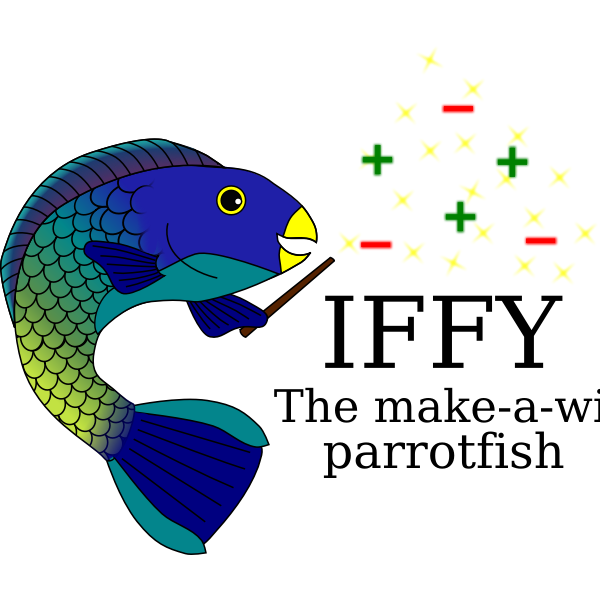 Magic blue gold fish vector drawing