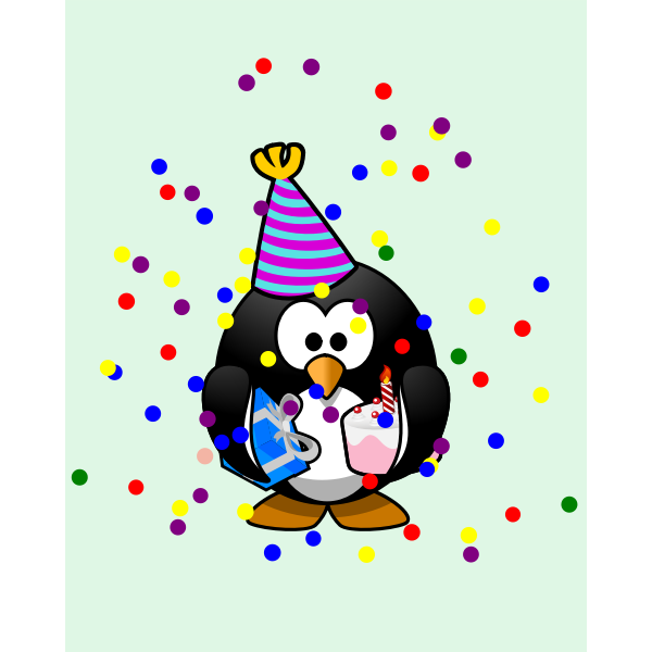 Vector graphics of colorful penguin birthday card