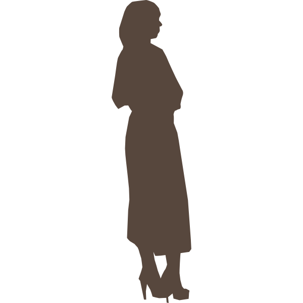 Silhouette of party girl vector clip art