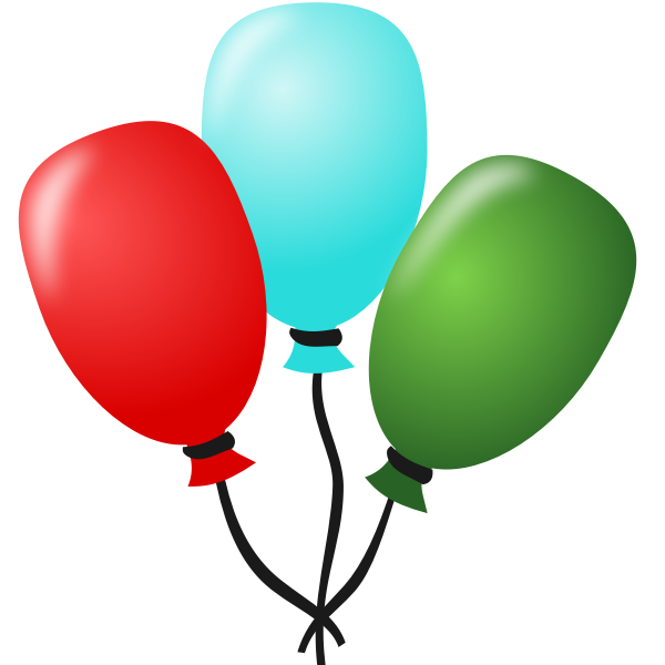 Vector drawing of three balloons tied together with a string