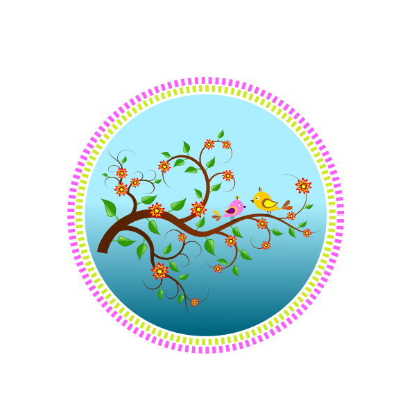 Birds on a branch with flowers vector drawing
