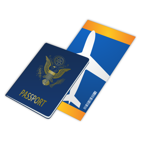 passport and ticket vector
