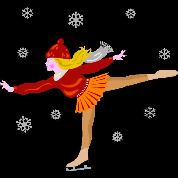 Vector clip art of ice skating girl in skirt