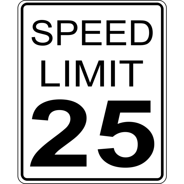 Speed limit 25 roadsign vector image