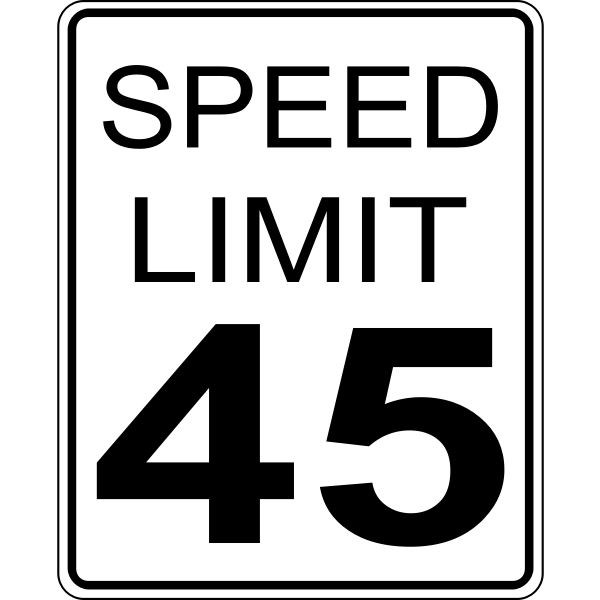 Speed limit 45 roadsign vector image