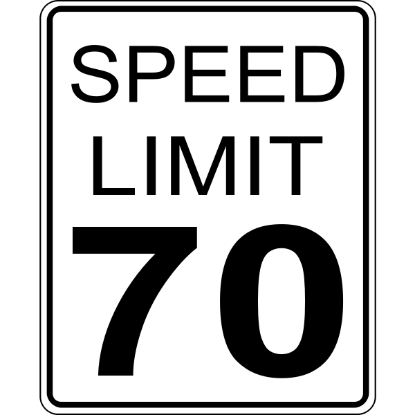 Speed limit 70 roadsign vector image