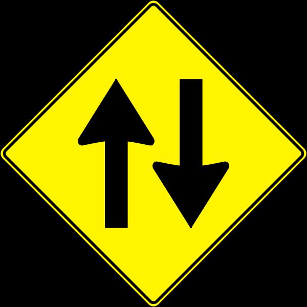 Two way traffic roadsign vector illustration