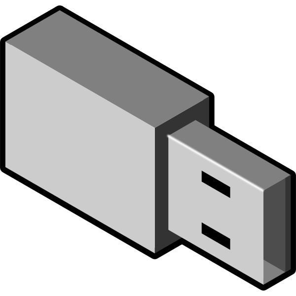 Vector illustration of grayscale small USB memory stick