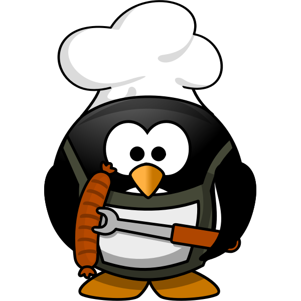 Penguin with barbecue equipment