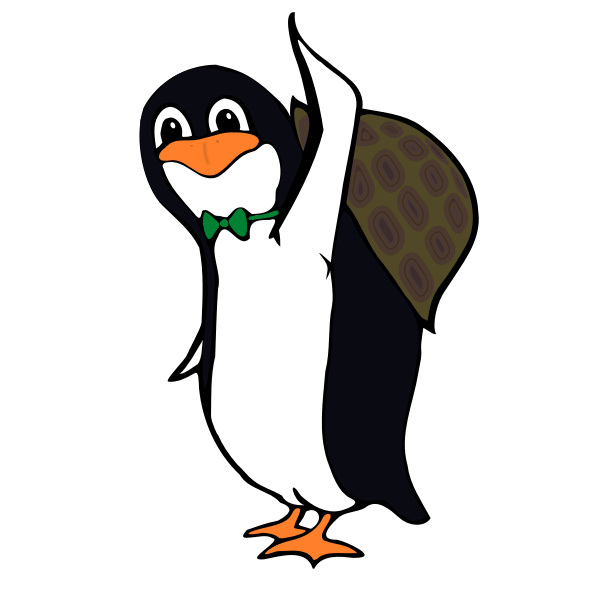 Turtle penguin vector drawing