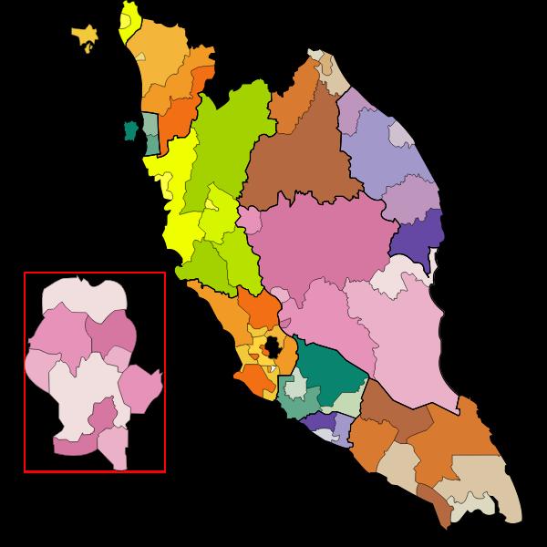 peninsular malaysia map coloured