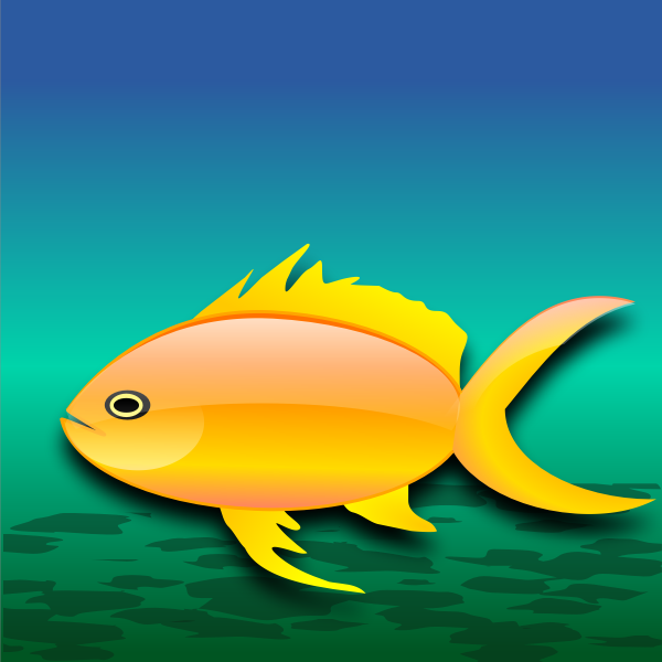 Cartoon gold fish in water vector illustration
