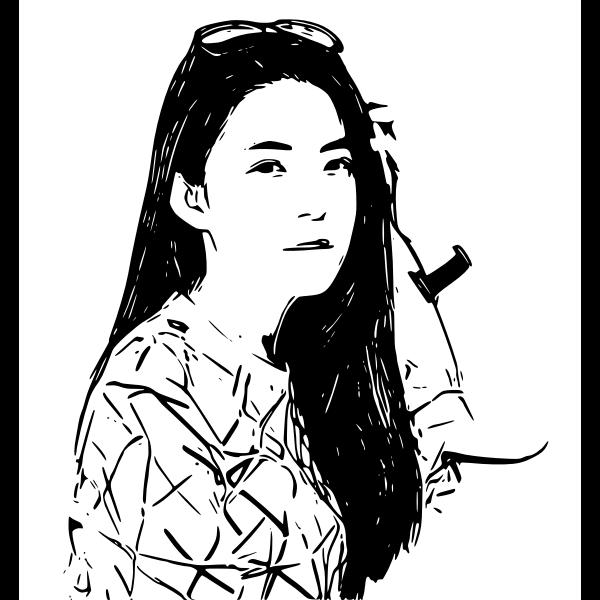 Woman monochrome art