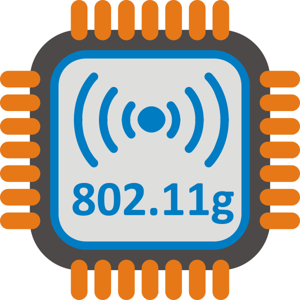 802.11g WiFi chip set stylized icon vector clip art
