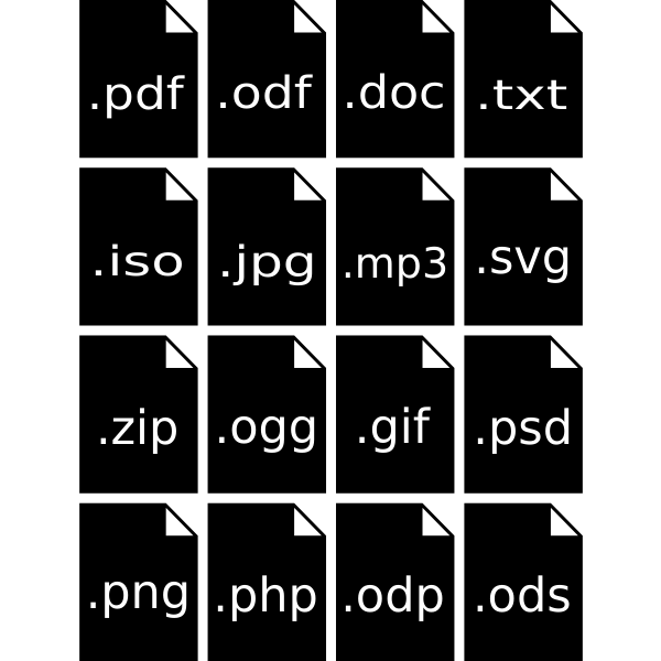 PC file type icons vector image
