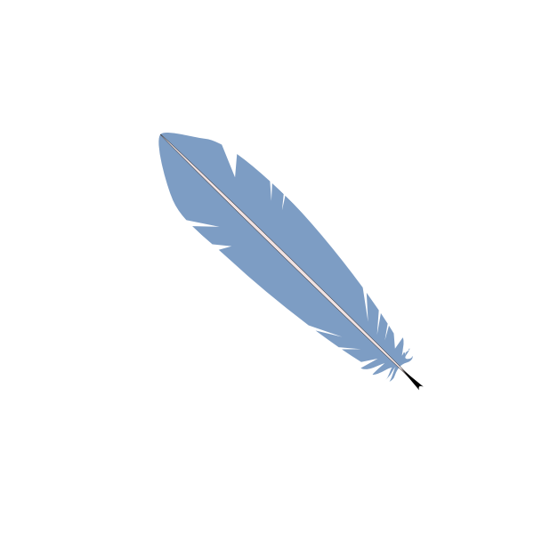Vector image of pale blue feather