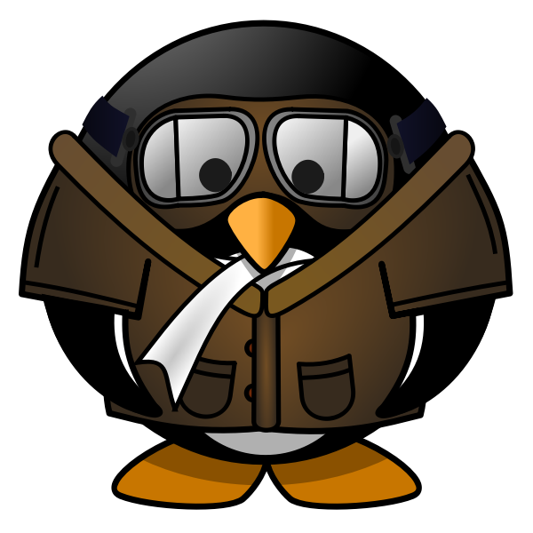 Tux pilot vector illustration
