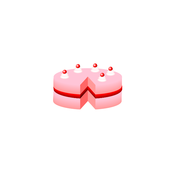 Vector illustration of pink cake without plate