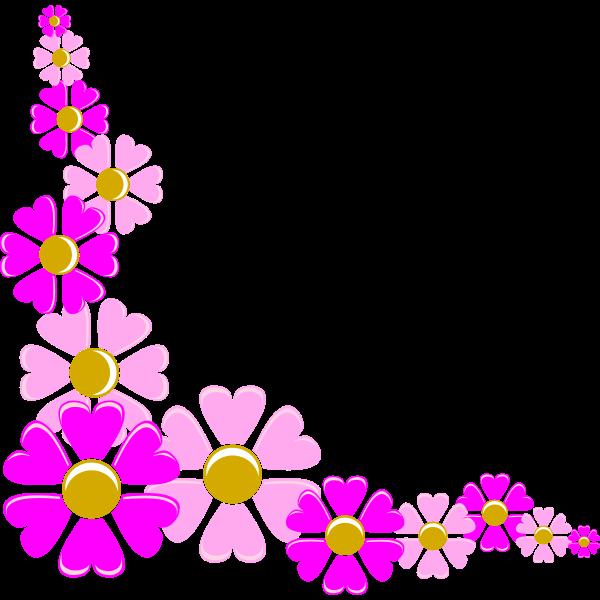 Vector illustration of pink flower corner decoration