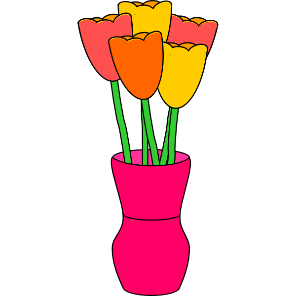pink vase of tulip without faces multicolored