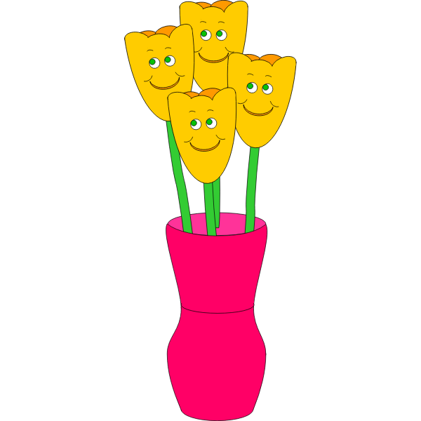 Vector illustration of four smiling flowers in a vase