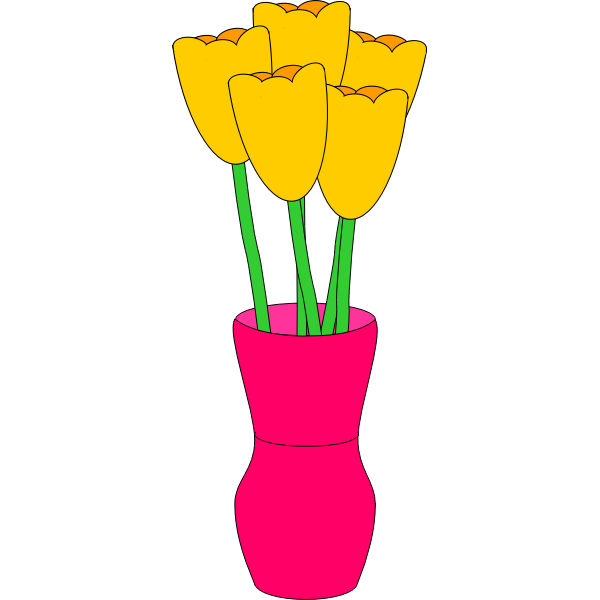 pink vase of yellow tulips