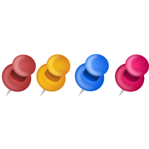 Selection of colorful pins vector graphics