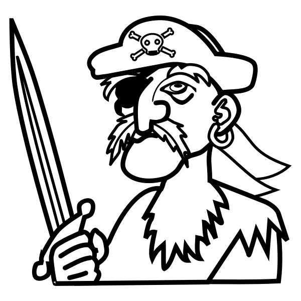 Vector clip art of old man pirate outline
