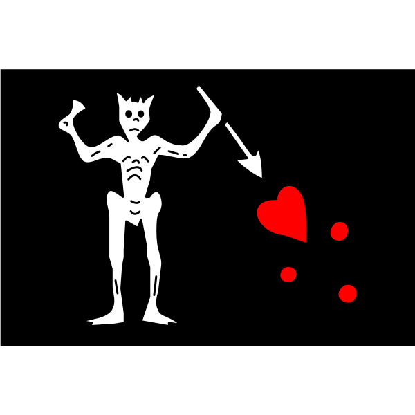 Vector illustration of pirate flag with skeleton and heart blood