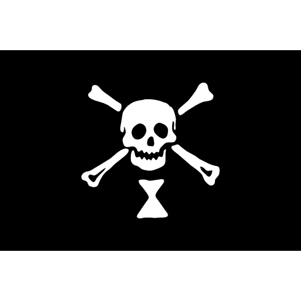 Pirate flag in black and white vector image