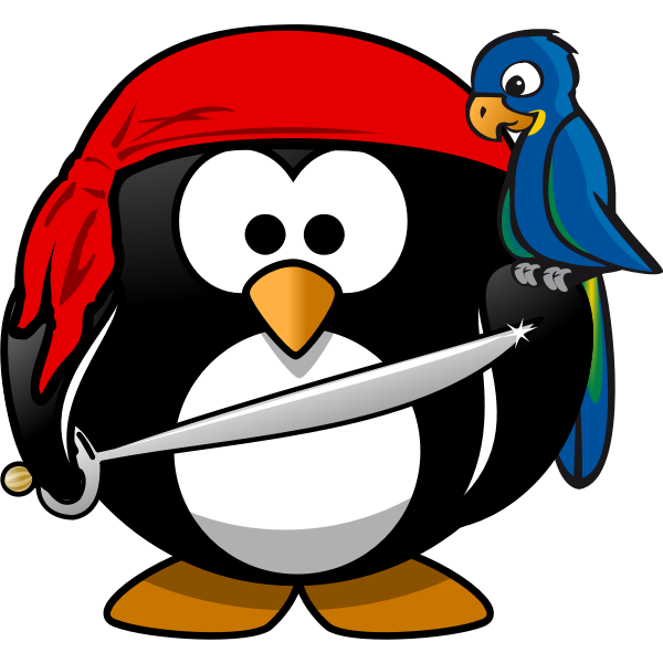 Vector graphics of pirate of Antartica tux