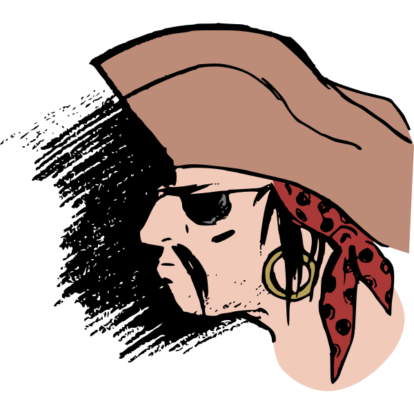 Pirate head in colour