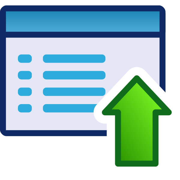 Upload or up green vector icon