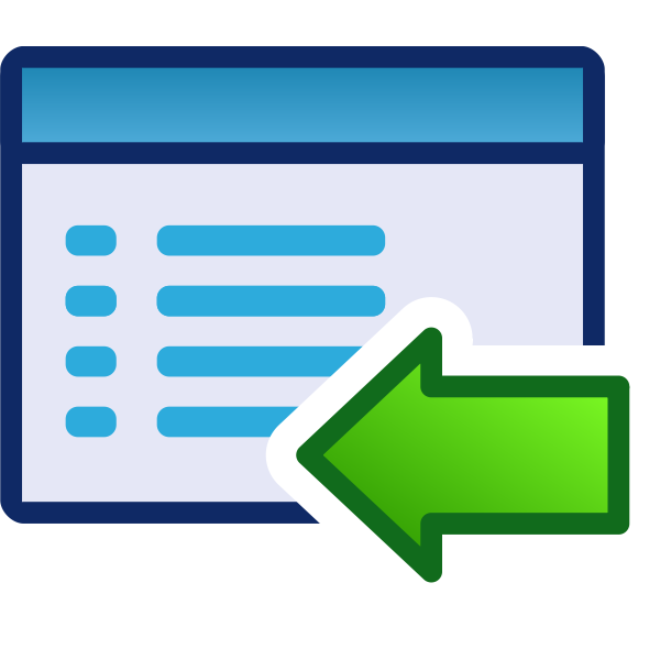 Back or left green vector icon