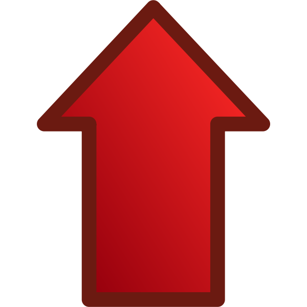 Red arrow pointing up vector graphics