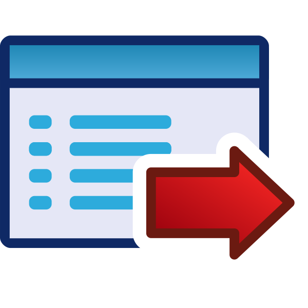 Forward or right red vector icon