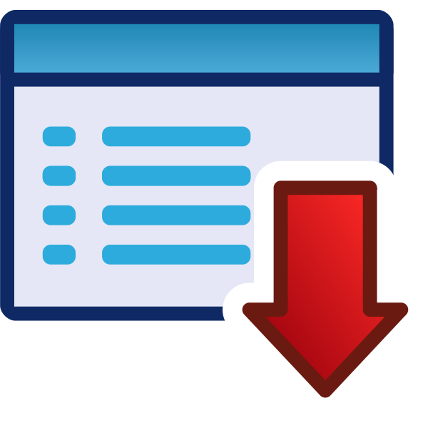 Download or down red vector icon