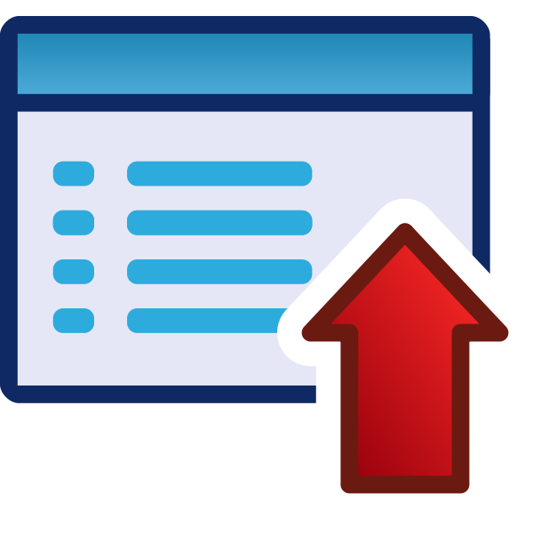 Upload or up red vector icon