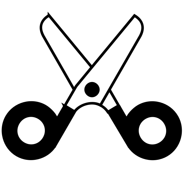 Open scissors icon vector drawing