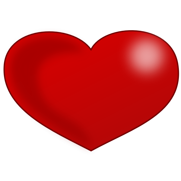 Red Glossy Valentine heart vector drawing