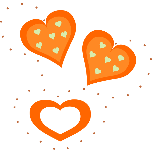 Vector drawing of Valentine orange hearts